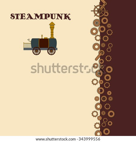Steampunk card with retro locomotive in doodle style - stock vector