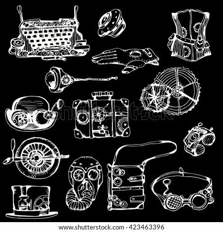 Steampunk collection on black, hand drawn vector illustration. Steampunk elements for your design. - stock vector