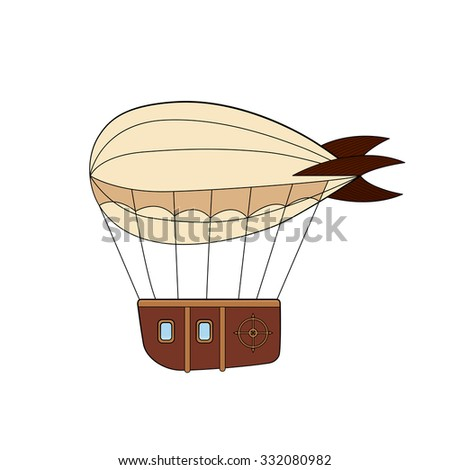 Steampunk dirigible in doodle style - stock vector