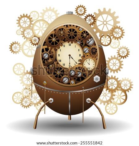 Steampunk Easter Egg  - stock vector