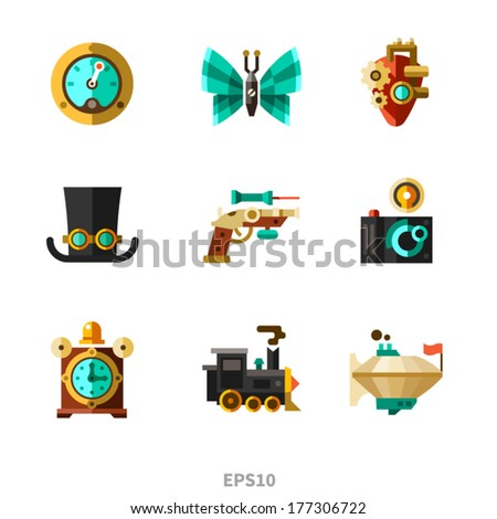 Steampunk elements. Vector flat icons - stock vector