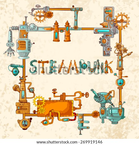 Steampunk frame with industrial machines gears chains and technical elements vector illustration - stock vector