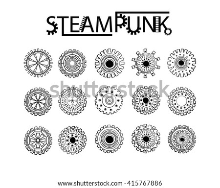 Steampunk gear-wheel round elements. Set.Black color - stock vector