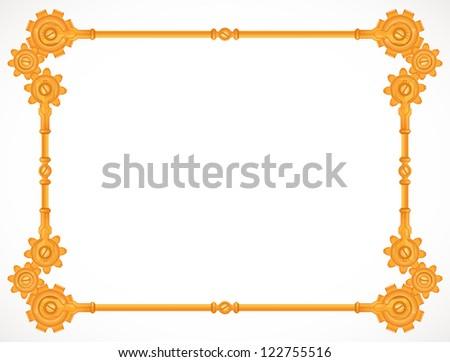 steampunk golden frame - stock vector