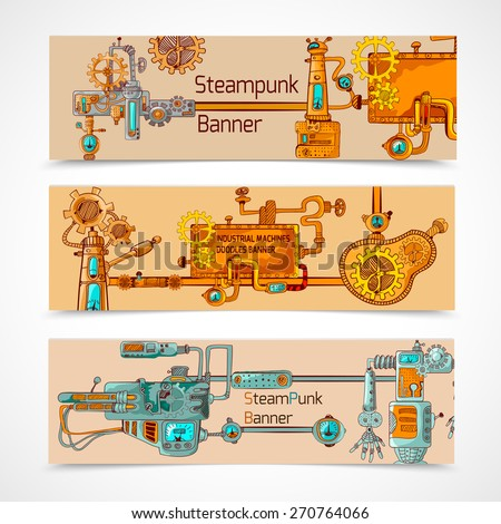 Steampunk horizontal banner set with engineer robotic machinery elements isolated vector illustration - stock vector