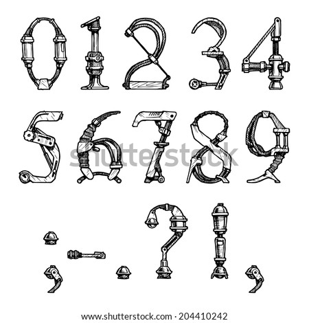 steampunk letter  made of different technical pieces: pipes, blocks, screws, etc. Stylized as engraving. Numbers and punctuation marks - stock vector