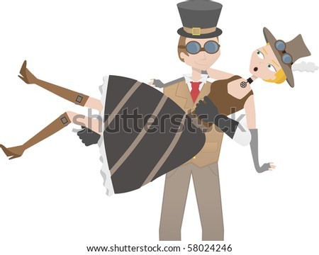 Steampunk man catching steampunk woman - stock vector