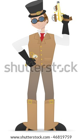 Steampunk man holding guy and watch - stock vector