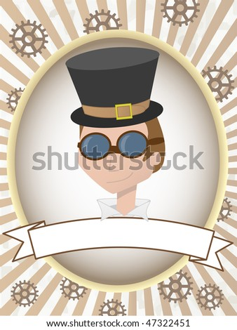 Steampunk man product label gears and goggles - stock vector