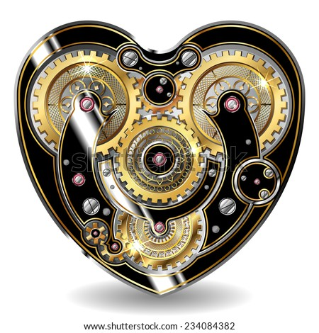 steampunk mechanical heart - stock vector