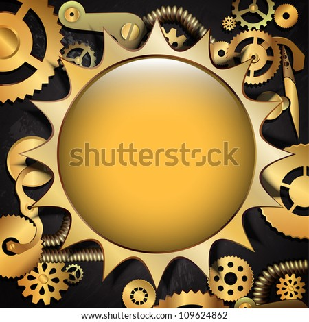 Steampunk metal gear background with place for text - stock vector