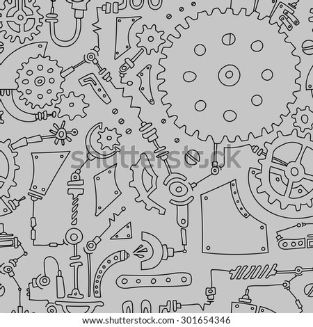 Steampunk monochrome seamless pattern