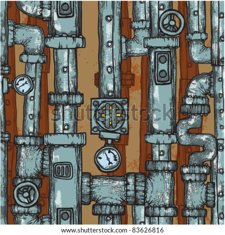 Steampunk pipes field. Seamless background - stock vector