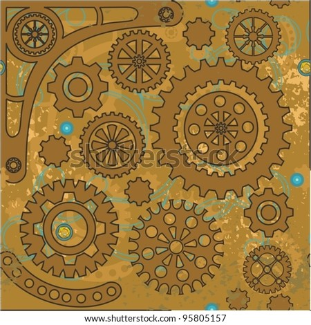 Steampunk seamless  pattern - stock vector