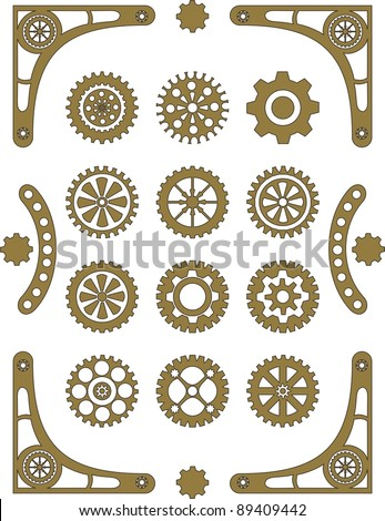 Steampunk, set of retro styled gear wheels - stock vector