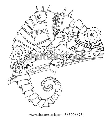 Steampunk Style Chameleon Mechanical Animal Coloring Book Vector Illustration