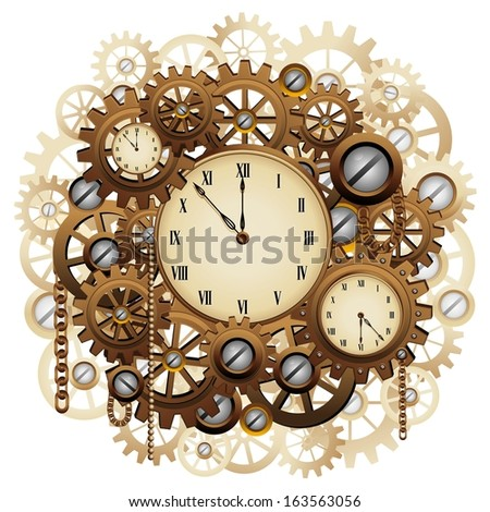 Steampunk Style Clocks and Gears - stock vector