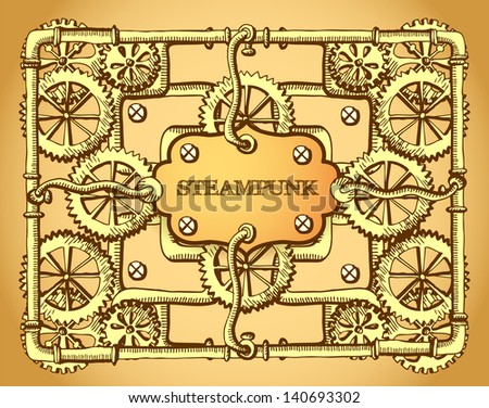 Steampunk style frame - stock vector