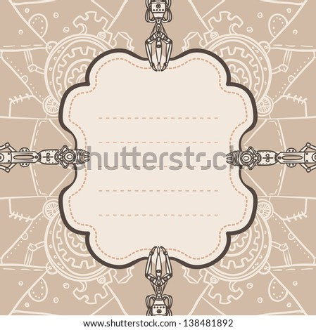 Steampunk vector patterned background (frame) - stock vector