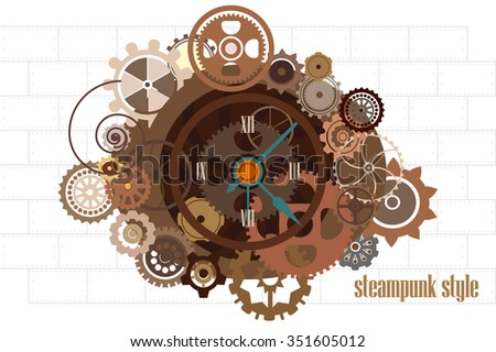 Steampunk watch with gears industrial machine chains and technical elements vector illustration - stock vector