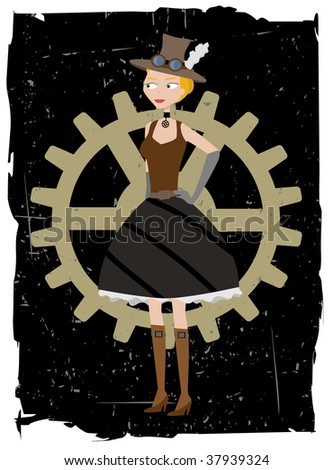 Steampunk woman on gear grunge vector background - stock vector