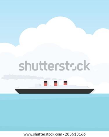 Steamship - stock vector