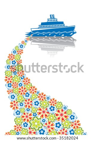 Steamship in abstract collage. Format A4. Vector illustration. Isolated groups and layers. Global colors. - stock vector