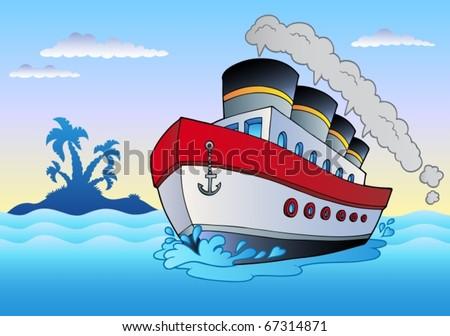 Steamship sailing in sea - vector illustration. - stock vector