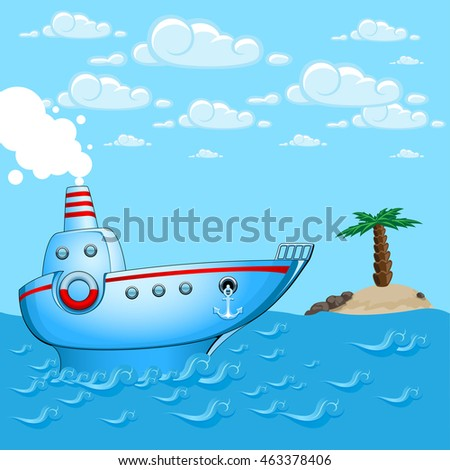Steamship sailing in sea. Vector illustration in cartoon style