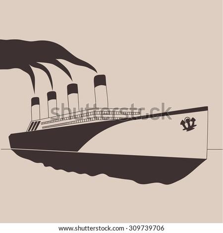 Steamship vintage illustration, engraved retro style, hand drawn, sketch. - stock vector