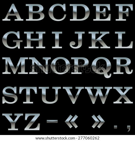 Steel alphabet vector template isolated on black background. - stock vector