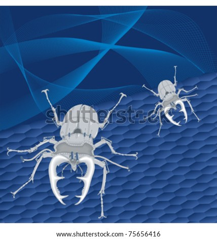 steel beetles on abstract blue background