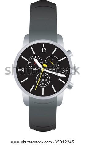 steel bracelet watch - stock vector