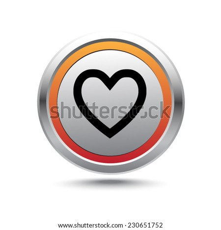 Steel button favorite vector icon - stock vector