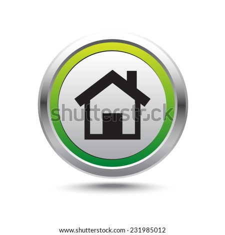 Steel button home vector icon