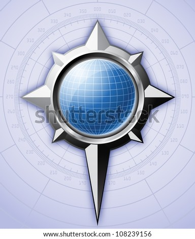 Steel compass rose with blue globe inside it. Vector EPS 10. - stock vector