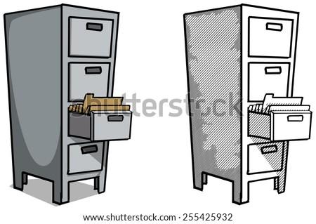 Steel filing cabinet vector illustration - stock vector