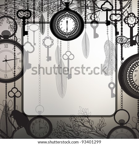 Steel gray background with tree branches and antique clocks and keys
