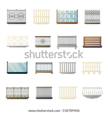 Steel Iron Glass And Wood Bacony Railing Home Decorations Design Ideas Flat Icons Collection Isolated Vector