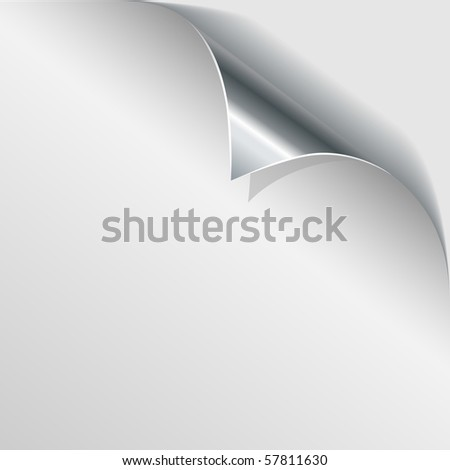 Steel page curl with white background. - stock vector