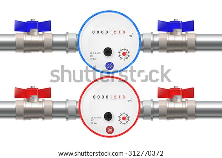 Steel Pipe with Water meter, Hot and Cold water counter and ball valve. Vector isolated on white. - stock vector