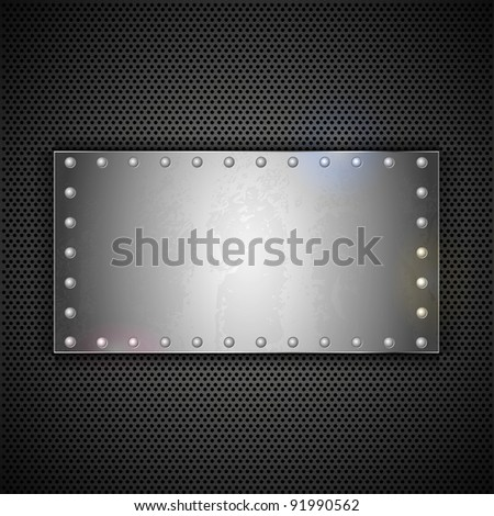 steel plate with place for your text. Vector metal background - stock vector