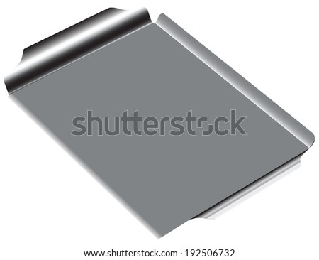 Steel rectangular grill pan. Vector drawing.