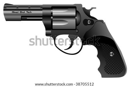 steel revolver vector - stock vector