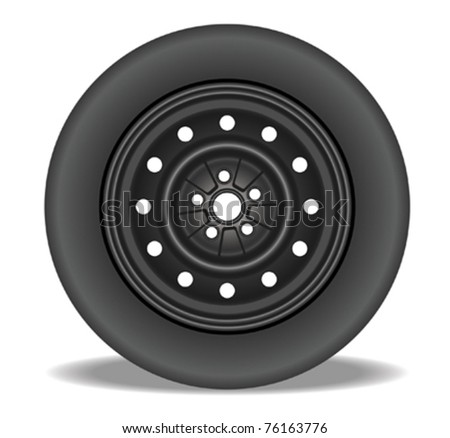 Steel Rim with Tire - stock vector