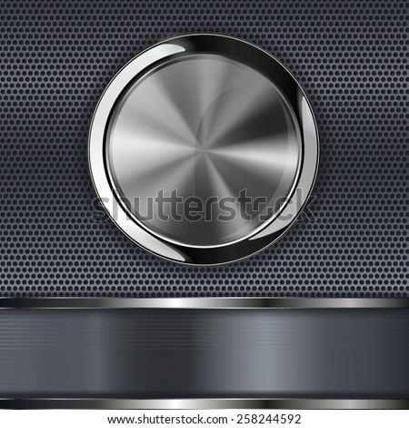Steel round button on metal background, web icon with metallic frame. Vector illustration - stock vector