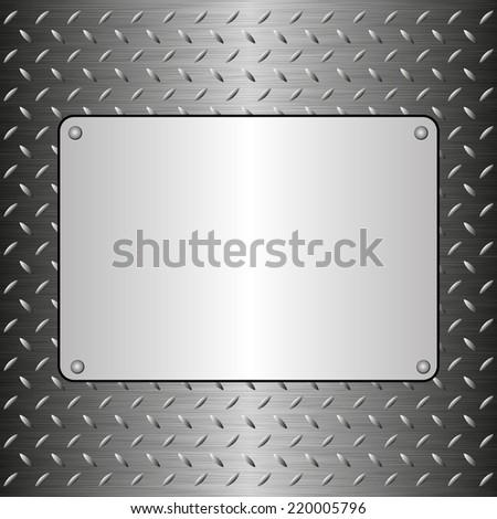 steel sheet with metallic plaque - stock vector