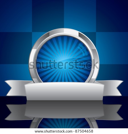 Steel style security shield symbol on blue background - stock vector