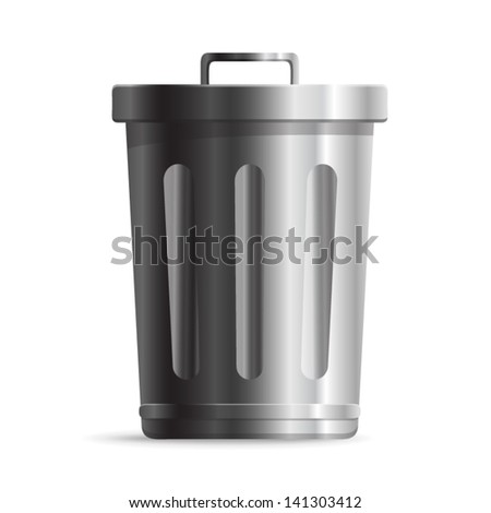 Steel Trash can or dustbin - icon isolated on white background. Vector - stock vector