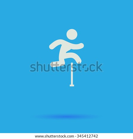 Steeplechase White flat vector simple icon on blue background with shadow  - stock vector